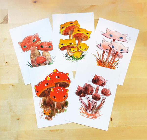 mushroom cats postcards