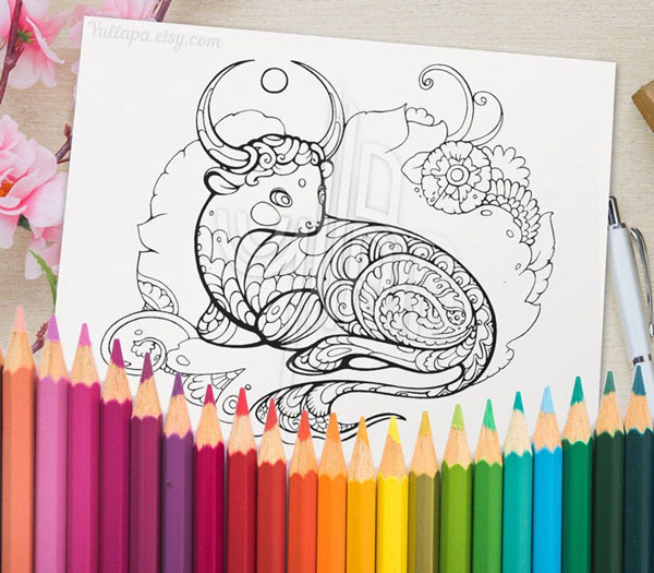 Year of the Ox colouring sheet