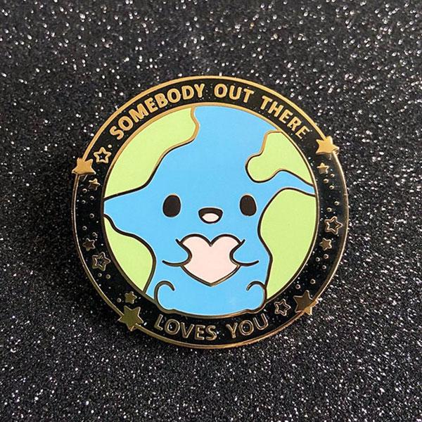 kawaii earth positive pins