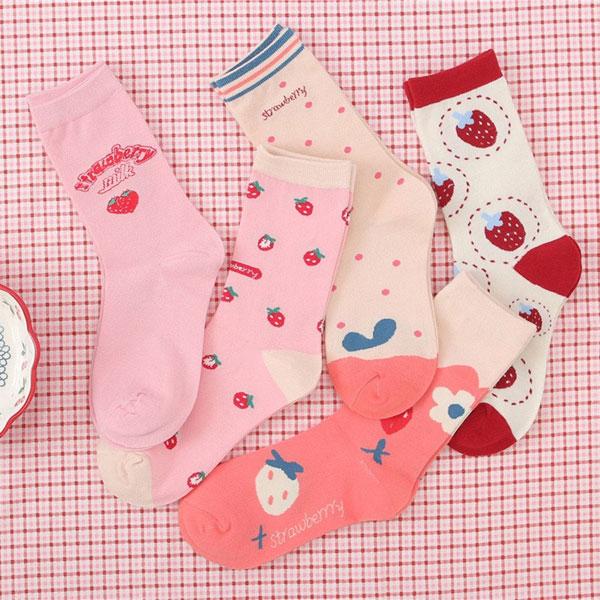 kawaii strawberry socks