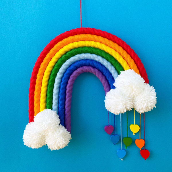 Original Cute Wall Art - woven rainbow wall hanging