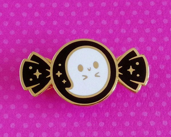 Kawaii Halloween Enamel Pins - ghost candy