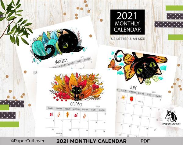 Cute 2021 Printable Calendars