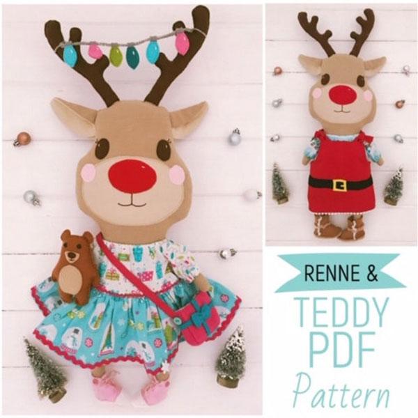 kawaii reindeer doll sewing pattern