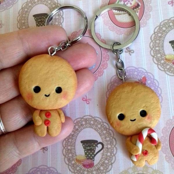 kawaii gingerbread man keychain