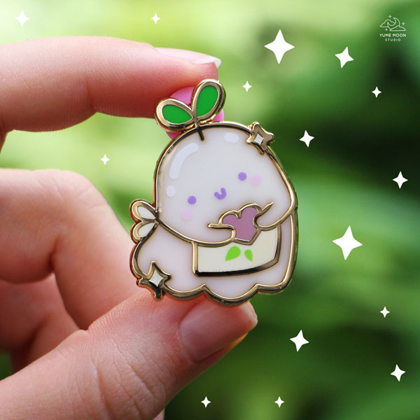 Kawaii Halloween Enamel Pins - ghost sprout