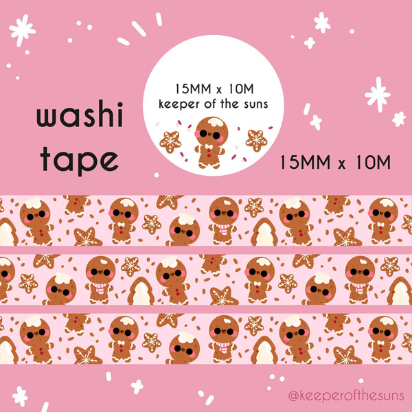 kawaii gingerbread washi tape