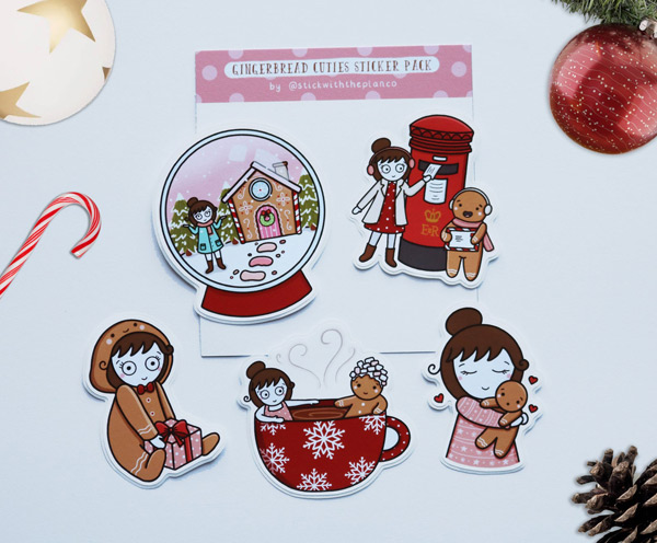 kawaii gingerbread man stickers