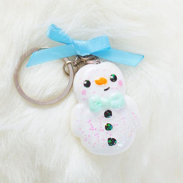 Kawaii Christmas snowman keyring