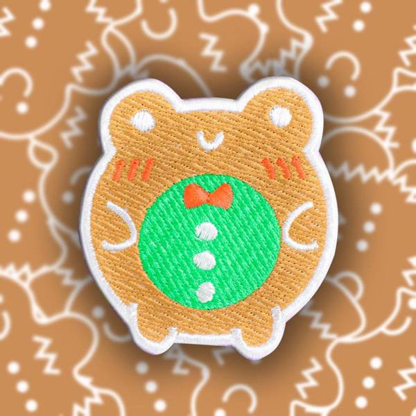 kawaii gingerbread frog patch