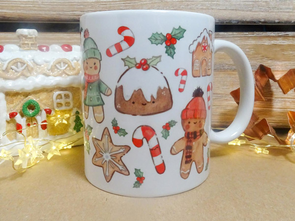 kawaii gingerbread man christmas mug