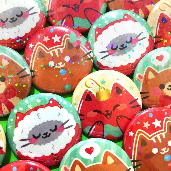 Kawaii Christmas badges
