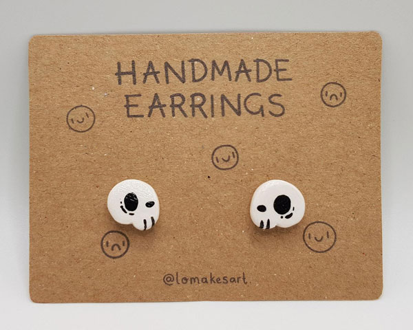 kawaii skull earrings