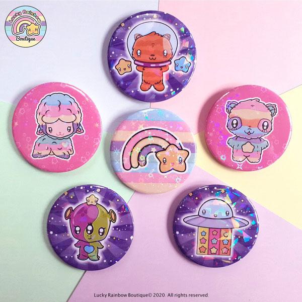 glitter badges pins
