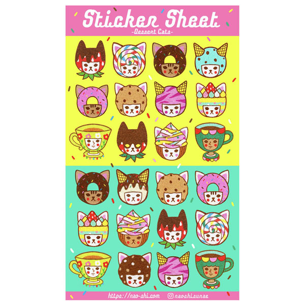 dessert cats sticker sheets
