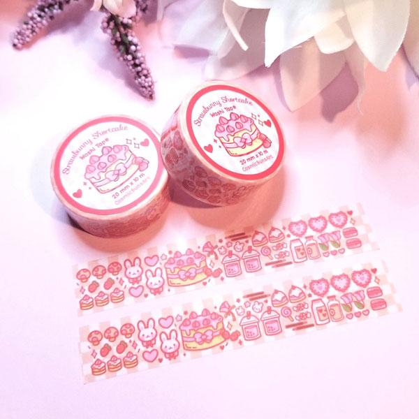 strawberry bunny kawaii washi tape