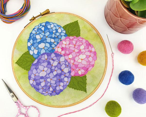 Hydrangeas embroidery pattern