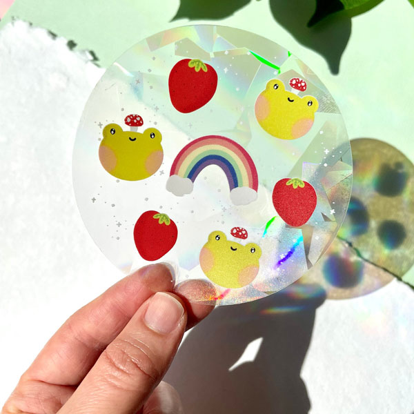 frog rainbow kawaii suncatchers
