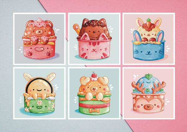 kawaii ice cream art prints