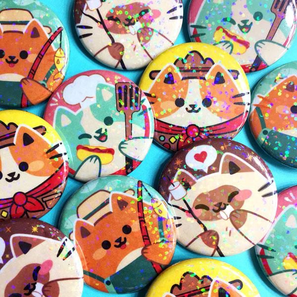 cute camping cats badges