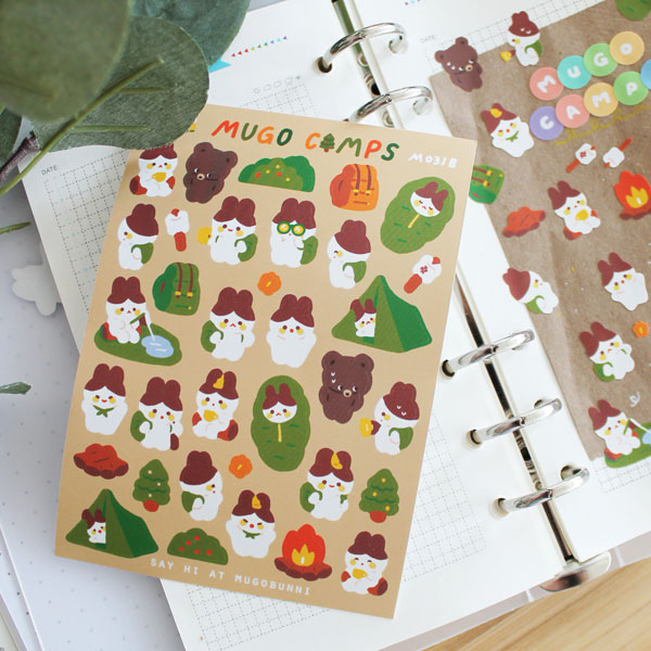 cute camping animals stickers