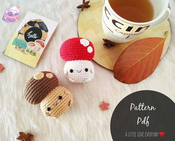 kawaii mushroom crochet pattern