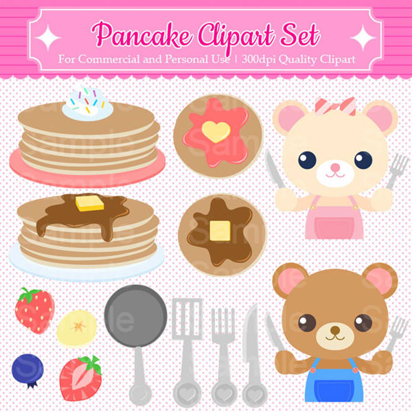Kawaii Pancake Day Clipart Set