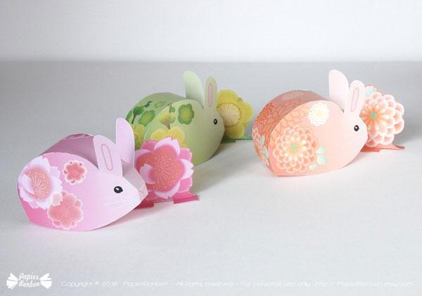 kawaii easter bunny printable favor box
