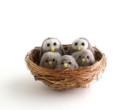 The Grey Woods owls needle felting kits