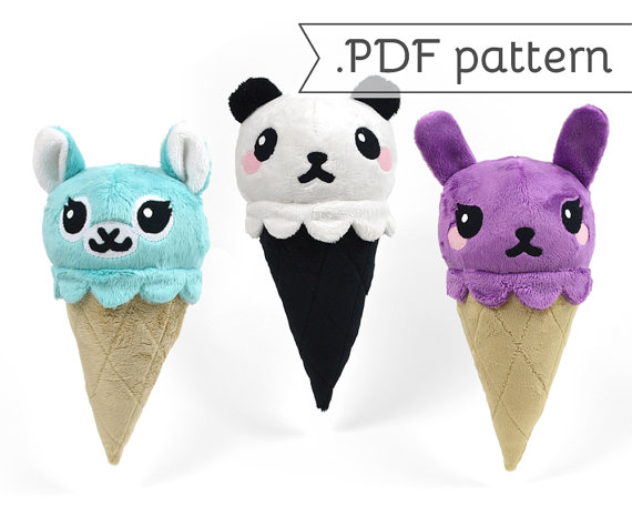 kawaii ice cream animals plush