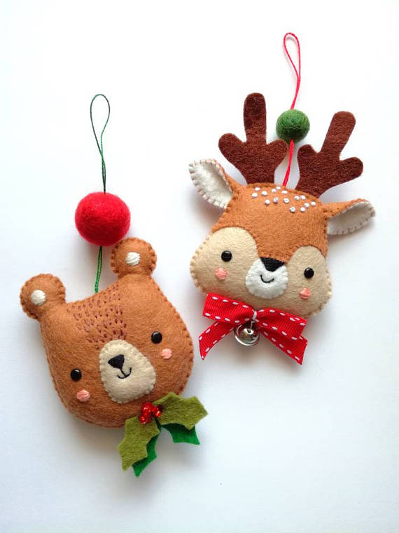 diy felt christmas tree decorations by nuvolina handmade - Handmade Felt Christmas Decorations