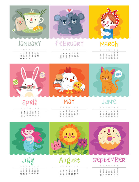 kawaii 2018 Printable Calendar