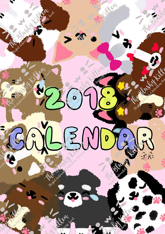 2018 Printable Calendar kawaii dogs