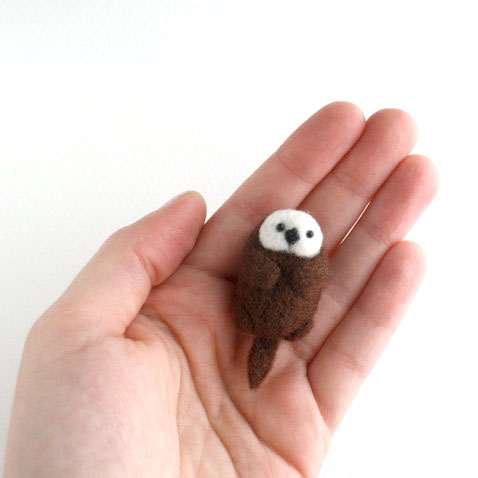 The Grey Woods sea otter needle felting kits