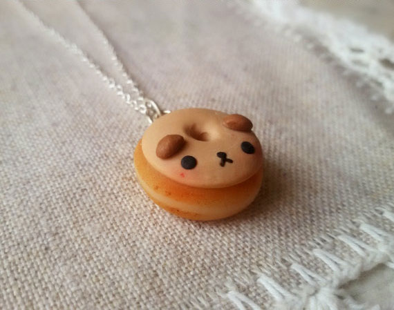 cute dog donut necklace