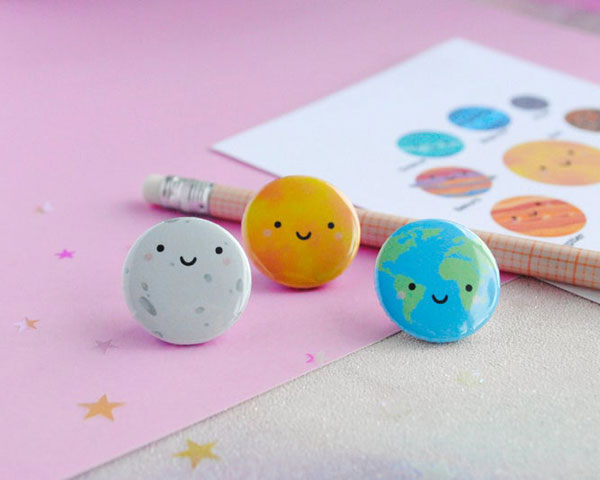 Kawaii Moon badges