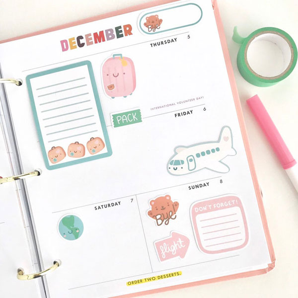 kawaii travel planner stickers