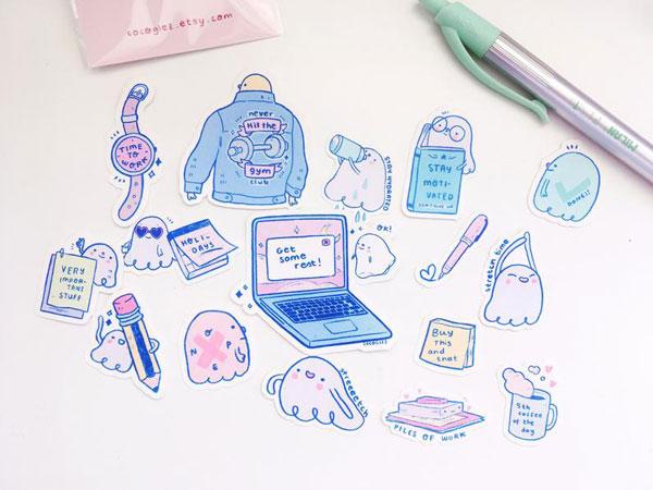 Kawaii Halloween ghost stickers