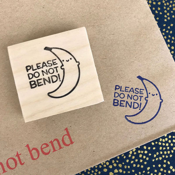 happy mail do not bend stamp