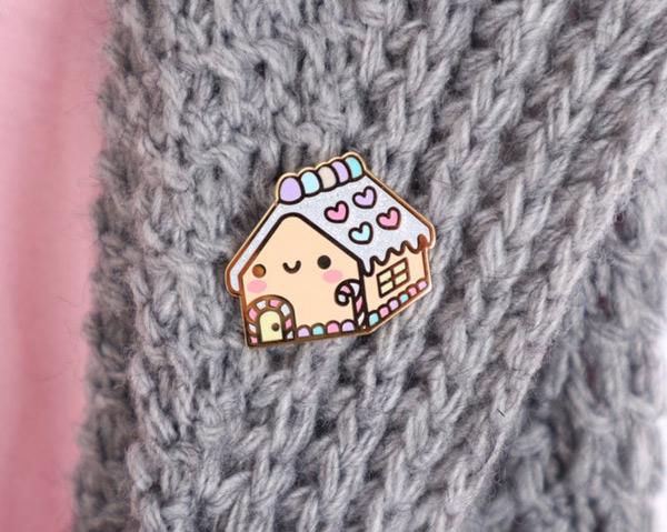 kawaii gingerbread house enamel pin