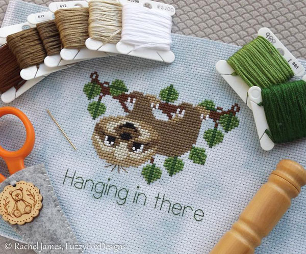 Cute Sloth Crafts - cross stitch pattern