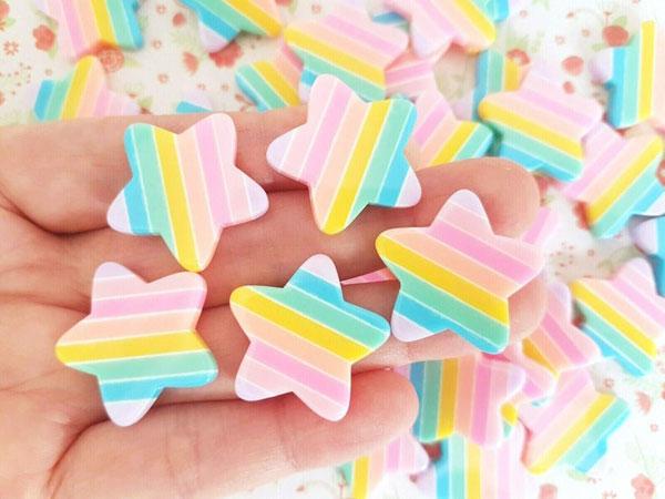 rainbow kawaii cabochons