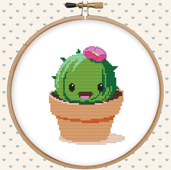 kawaii cross stitch cactus pattern