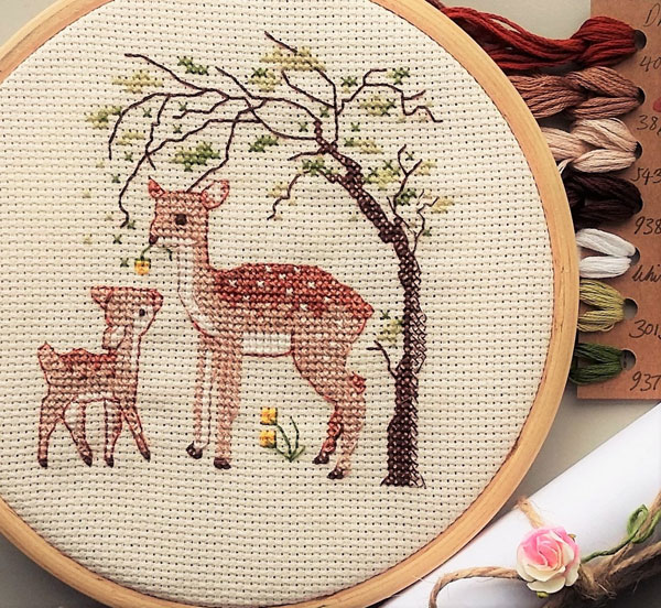 doe and fawn cross stitch kit