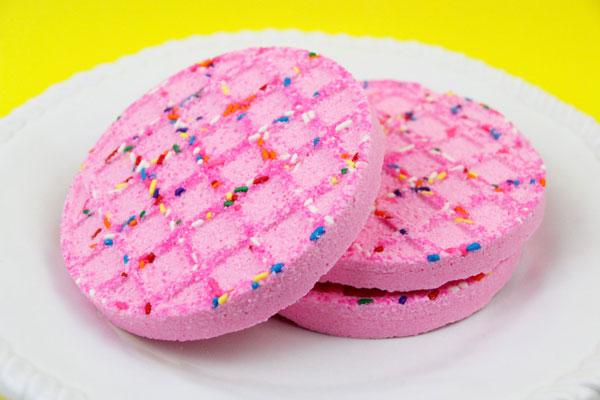 pink berry waffles bath bombs