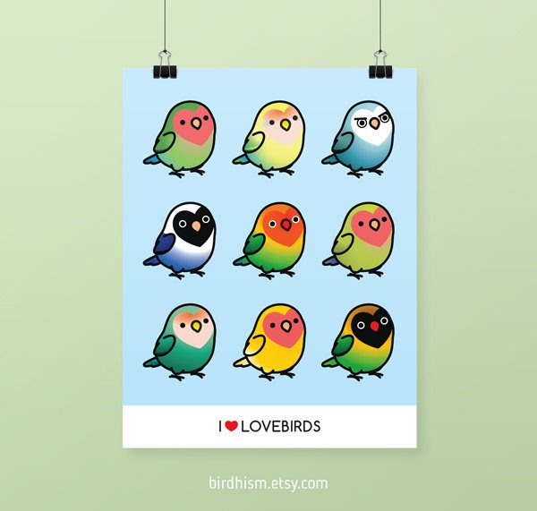 birdhism kawaii lovebirds print