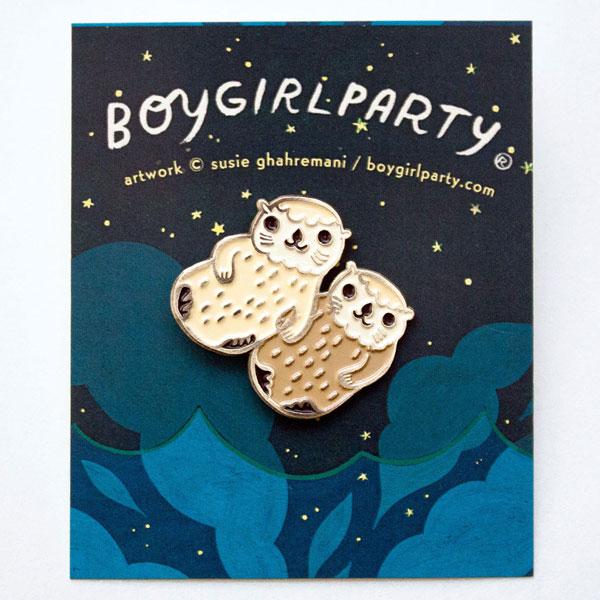 Valentine's Day kawaii otters enamel pin