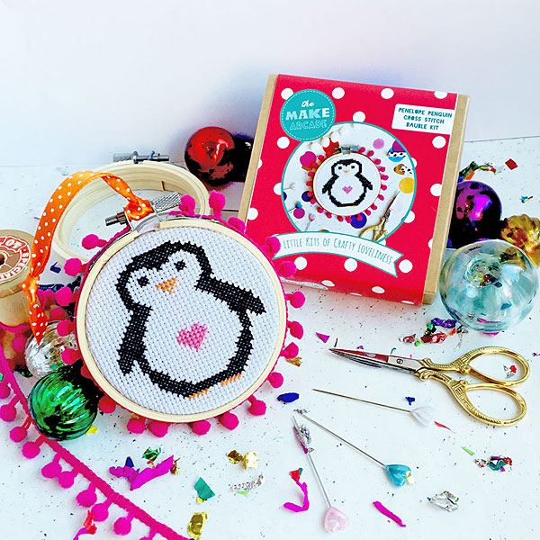 penguin mini cross stitch kit