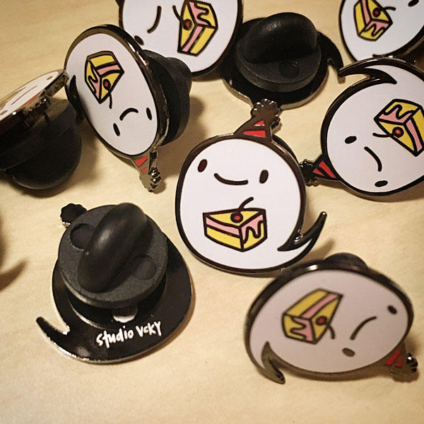 studiovcky kawaii ghost enamel pins