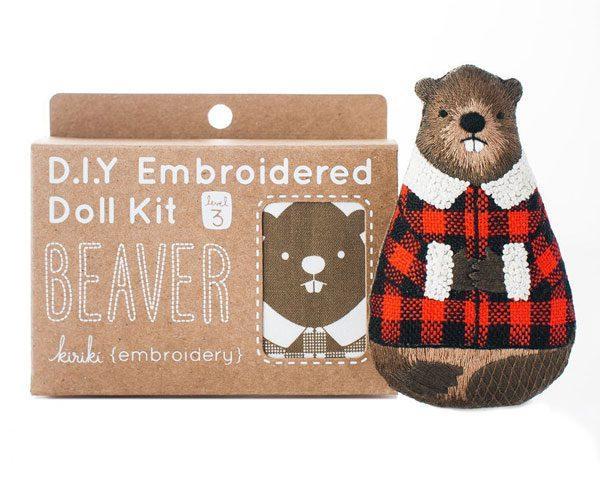 Kawaii Fall Crafts - beaver embroidery kit